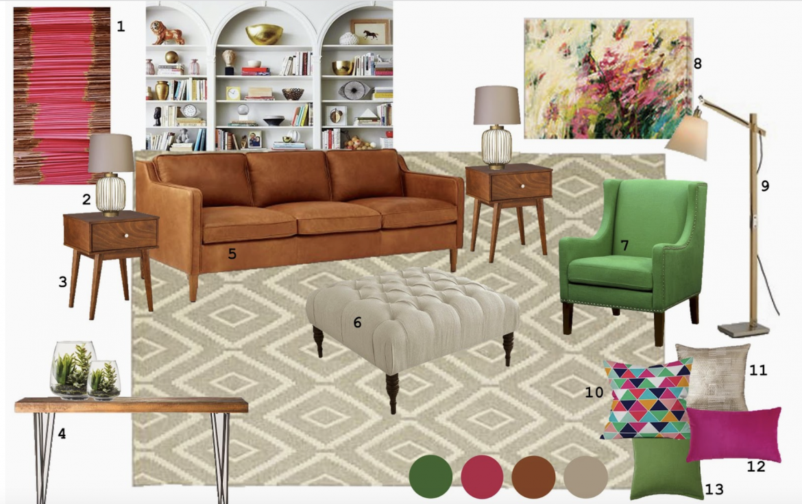 E-Design: Pink and Green Living Room